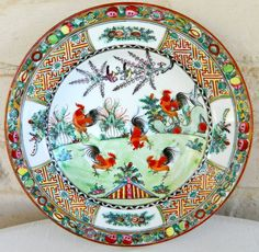 """JAPANESE PORCELAIN WARE PLATE Red ROOSTER and Cherry Blossom 9"""""""