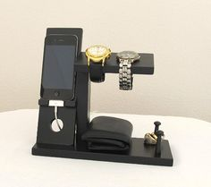 Iphone Stand with Mens Valet Men Watch Holder- Men Watch Stand - Watch Display Iphone Dock - Ring Holder. This would make a great Father's Day gift!