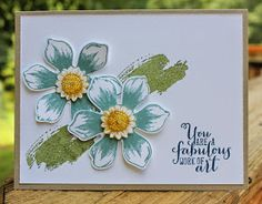 Stampin' Up! ... handmade card from AnnMarie's Stamping Adventures!!: For my mom! ... sweet card wtih two stamped and punched out flowers on a watercolor swash ... like it!
