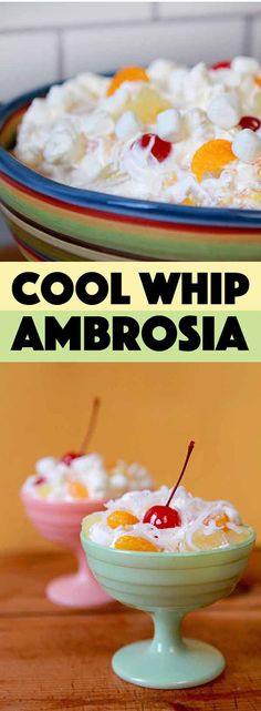 This recipe for Cool Whip Ambrosia Salad is about as quick and easy as they come. If you have 6 minutes and 6 ingredients you can mix up this simple but super delicious low calorie dessert. Yogurt Recipes, Chef Recipes, Dessert Recipes, Keto Desserts, Family Recipes, Dinner Recipes, Healthy Recipes, Ambrosia Recipe, Ambrosia Salad
