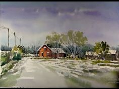 Watercolor Painting : winter landscape - YouTube