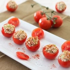 Bite sized tomatoes stuffed with a healthy salmon salad. A perfect no mayo, low carb appetizer or light lunch.