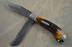 Bill Ruple Stag Saddlehorn Two Blade Trapper, Devin Thomas Damascus
