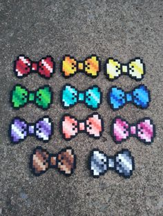 Striped Bows perler beads by BurritoPrincess - Pretty !!!