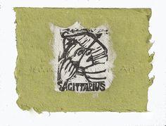 Sagittarius card, lino print on handmade paper by Jennifer Kunin www.etsy.com/shop/JenniferKuninStudio