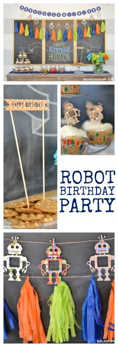 DIY Robot Birthday Decor. Super easy party ideas and crafts. Perfect for a baby's first birthday!