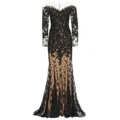 Zuhair Murad Lace Gown (€7.935) ❤ liked on Polyvore featuring dresses, gowns, gown, long dresses, black, lace ball gown, black evening dresses, black dress and lace gown