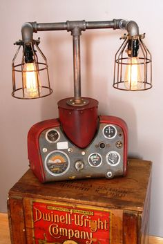 Modern Farmhouse Tractor Industrial Table Lamp Table Lamps