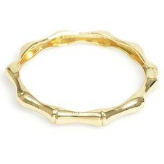 Bamboo Enamel Hinged Bracelet - Gold