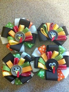 50 Cute Thanksgiving Hair Bows Ideas For Your Little Kids - Nona Gaya Thanksgiving Hair Bows, Christmas Hair Bows, Christmas Diy, Diy Thanksgiving, Christmas Girls, Diy Hair Bows, Diy Bow, Bow Hair Clips, Hair Ties