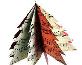 Paper Tree Ornament - Repurposed Vintage Sheet Music and Red File Folders