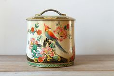 Vintage metal candy box or cookie tin / cottage by WhiteDogVintage, $25.00