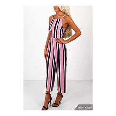 Yoins Fashion Stripe Pattern Backless Jumpsuit with Straps Design (6.223 KWD) ❤ liked on Polyvore featuring jumpsuits, backless jumpsuits, jump suit, striped jumpsuit, white backless jumpsuit and strappy jumpsuit