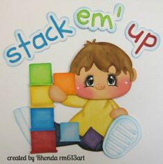 Boy Stacking Play paper piecing set premade scrapbook page-Rhonda rm613art