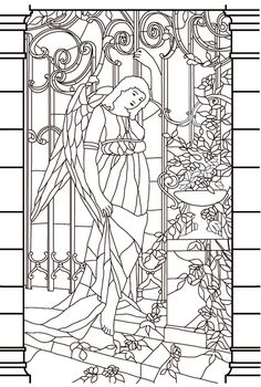 Free coloring page coloring-vitrail-moyen-age. Drawing window (stained glass) of a goddess in a melancholy aspect, to print and color
