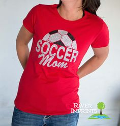 SOCCER MOM sparkly glitter shirt  fitted regular by RiverImprints