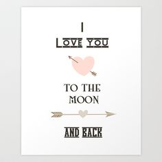 I+love+you+to+the+moon+and+back+Art+Print+by+Zen+And+Chic+-+$18.00