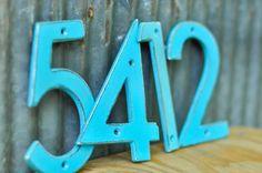 Distressed Aluminum House Numbers Mediterranean Blue by DropMetal
