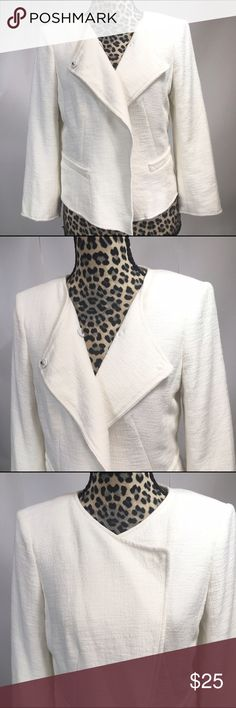 """Ann Taylor Loft Blazer Ann Taylor Loft Blazer;  Unfinished Seams at the Wrists and the Bottom;  Off- White Color; Fully Lined; 92% Cotton, 2# Raton, 3% Other Fiber;  Length 20"""" (Front), 19"""" (Back); 19"""" Sleeve Length; Shoulder to Shoulder 15"""";   Bust 36"""" LOFT Jackets & Coats"""