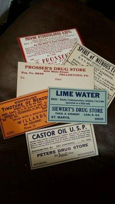 Vintage pharmacy labels $5.00