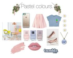 """""""Pastels."""" by carrie-fletcher ❤ liked on Polyvore featuring Nails Inc., Emilia Wickstead, Casetify, Jane Iredale, Lime Crime and Monsoon"""