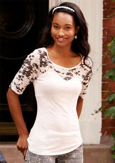 Sweetheart Lace Short-Sleeve - View All Tops - Tops - dELiA*s