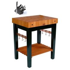 John Boos Cherry Grain Butcher Block Table with Knife Set