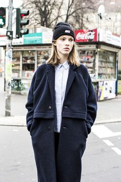 Nike beanie, collared shirt & a coat #style #fashion #editorial