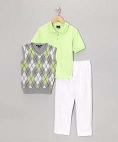 Take a look at this Lime & White Argyle Vest Set - Boys by Sahara Club on #zulily today!