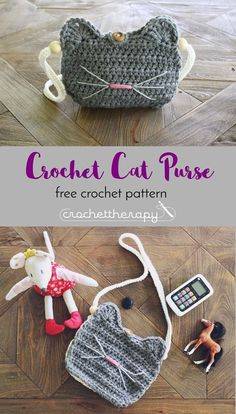 free crochet cat purse pattern