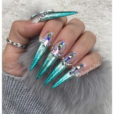 Icy Aqua mermaid ombré stiletto nails by MargaritasNailz nail art fashion design 2017 Swarovski crystals