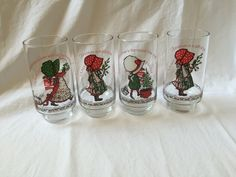 HOLLY HOBBIE CHRISTMAS Glasses, Vintage Holly Hobbie Coke glass,Vintage collectible glass,1970s Limited Edition Coca Cola Glass,gift for her by TheJellyJar on Etsy