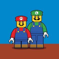 Mario & Luigi #Lego #Nintendo #Illustration