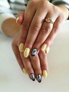 #yellownails #summernails #piórka #nailsart #nailart #oshiyo #ombrenails