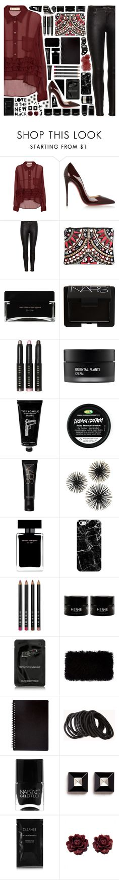 """""""2058 // P e r c l e v e i t e"""" by arierrefatir ❤ liked on Polyvore featuring Marni, Christian Louboutin, 7 For All Mankind, Boohoo, Narciso Rodriguez, NARS Cosmetics, Bobbi Brown Cosmetics, Koh Gen Do, TokyoMilk and Casetify"""