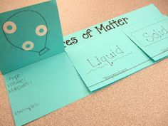 States of Matter foldable: When covering the properties of matter in Science, I can use this project in Phase 3 as an evaluation tool to see if the student's truly understand the different states of matter. It's a good hands on activity that also includes Elementary Science, Middle School Science, Science Classroom, Science Education, Teaching Science, Science Activities, Science Projects, Science Ideas, Classroom Ideas