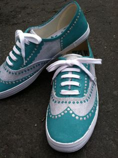Oxford Painted Canvas Shoes by EscapeTheWaiting on Etsy, $50.00