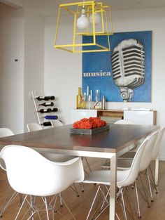 Wonder if I could paint the kitchen table legs with metallic paint to recreate this look...