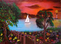 "Colorful Beach paintings. 18"" x 24""  Beach painting on canvas ,  tropical beach art,  tropical beach wall decor,  beach painting on canvas - pinned by pin4etsy.com"