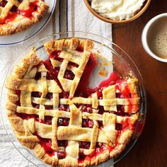 Citrus Cranberry Pie Recipe -To showcase abundant fall cranberries, make this beautiful lattice-topped pie. A dollop of orange cream complements the slightly tart flavor. —Taste of Home Test Kitchen
