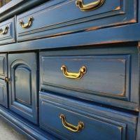 Chunky distressed denim blue dresser with black glaze.
