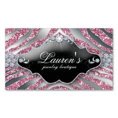Jewellery Zebra Business Card Sparkle Pink SB