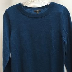 "J Crew Sweater The blue is a little lighter than what the picture shows. It's closer to a real than a navy and it is stunning. Perfect condition. 25"" down and 17"" across sleeves are 19""  lightweight J. Crew Sweaters"