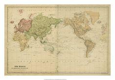 "World Maps Framed Art at AllPosters.com  $17 - 26""X18"""
