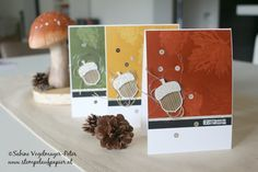 Stampin´Up! Vintage Leaves stamped with water and Acorn as eyecatcher.