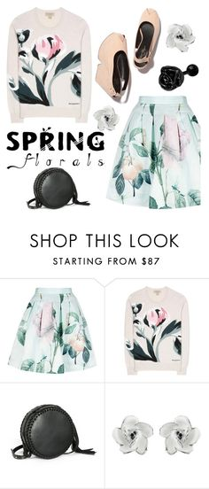 """""""spring florals"""" by janesmiley ❤ liked on Polyvore featuring Ted Baker, Robert Clergerie, Burberry, Wendy Nichol, Oscar de la Renta and There"""
