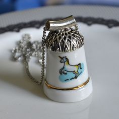 Recycled Porcelain Thimble Necklace  Blue by TheBrokenPlate