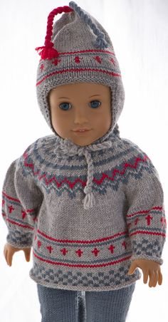 Tussa E-post :: Gry, Sweater superb for trips in the woods and in the mountains American Doll Clothes, American Dolls, Knit Crochet, Crochet Hats, Knitting Dolls Clothes, How To Start Knitting, Alexander Dolls, Warm Sweaters, Garter Stitch
