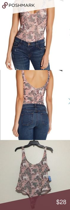 """Free People """"Printed so fresh"""" body suit Large new Free People OB604003  100% nylon  Mesh fabric  Scoop neck and back add to an already sweet situation  Color: freesia pink Free People Tops"""