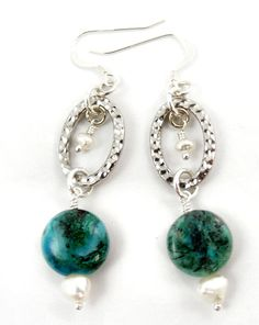 Green and Blue Earrings Chrysocolla Pearl Gemstone by SweetFreedom